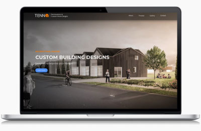 Tenna's designed website on a laptop